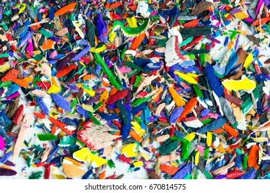 Close up photo of colored pencil scraps for use as a background.