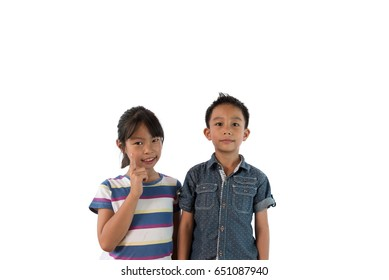 Close up photo of cute little asian brethren be smile happy on white background