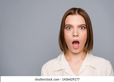 Close up photo of disappointed lovely lady wear blouse modern clothing fashionable scream shout wonder mistake failure isolated grey silver background