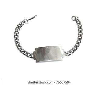 Close up photo of dog tag isolated on white background