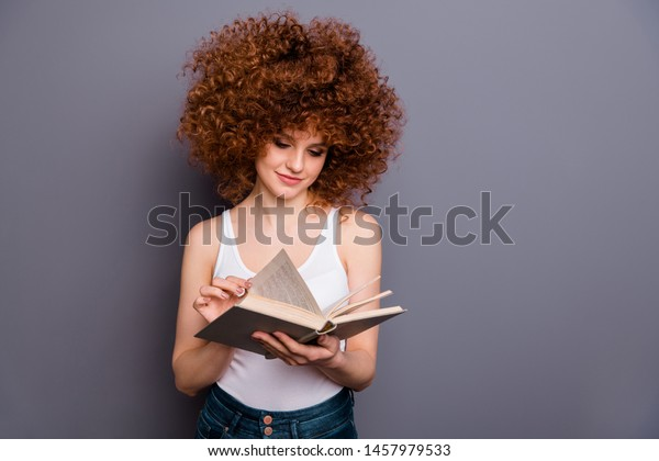 Close up photo of foxy lady reader book worm change page classic literature lover wear white tank-top isolated grey background