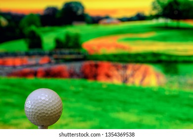 Close up photo of a golf ball in the golf course in a warm sunset light. Extremely shallow depth of field, focus on the golf ball. Copy space on the right half of the photo.