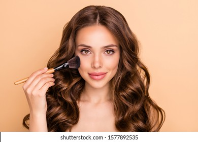Close up photo of gorgeous glamorous wavy haired girl apply rouge powder hold brush want prepare for date be attractive use professional skin care products isolated over beige color background