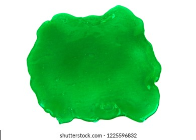 Close up photo of green slime blot isolated on white background