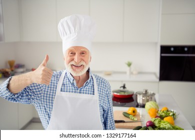 Close up photo grey haired he his him grandpa arm hand finger thumb up symbol promo approve quality tested wear baker chefs costume casual checkered plaid shirt jeans denim outfit kitchen