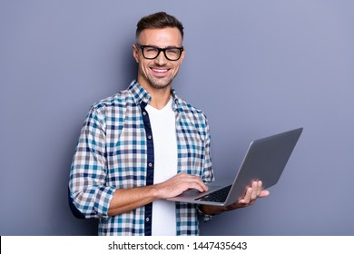 Close up photo handsome attractive he him his cheer guy hands arms hold notebook writing checking letters colleagues partners stylish look wear casual plaid checkered shirt isolated grey background