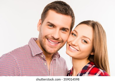 Close up photo of happy couple in love