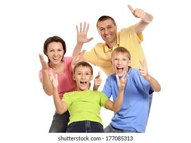 Close up photo of happy family