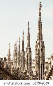 Close up photo of Milan cathedral (Duomo di Milano), Italy. Architectural theme.