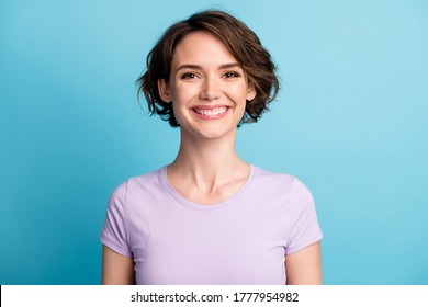 Close up photo of nice attractive girl look in camera toothy smile enjoy rest relax wear casual style clothes isolated over blue color background