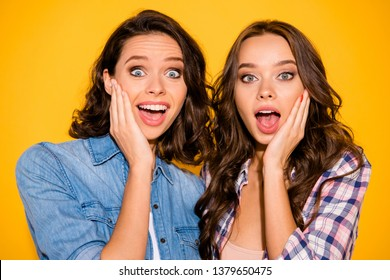Close up photo nice cute fellows fellowship astonished impressed sales information black friday shout scream palm hand touch face cheek wear summer plaid denim outfit isolated yellow background