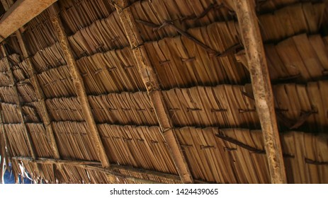 close up photo of the nipa hut, the roof of Bahay Kubo in the Philippines