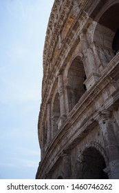 Close up photo on Rome Coloseum with sky