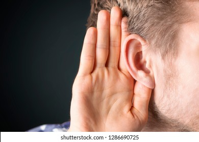 close up photo of person have ear hearing problems isolated