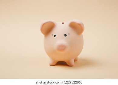 Close up photo of pink piggy money bank isolated on pastel beige wall background. Money accumulation, investment, banking or business services, wealth concept. Copy space advertising mock up