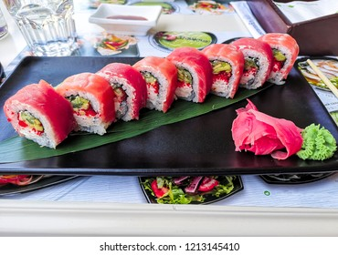 Close up photo of a plate with sushi. Zaporozhye, Ukraine, 23 August 2018.