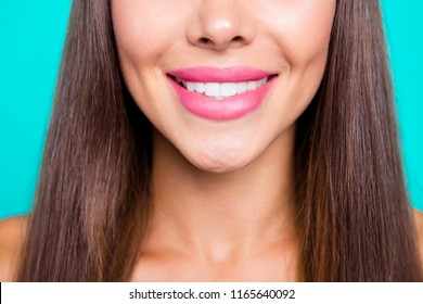 Close up photo portrait of beautiful nice good pretty attractive woman with toothy shinny perfect idea straight teeth isolated on blue vivid bright background