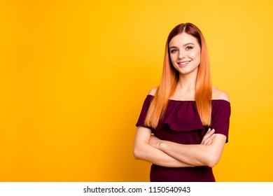 Close up photo portrait of delightful cheerful excited attractive stunning clever intelligent famous vip person wearing cool burgundy clothing holding hands crossed isolated vivid background