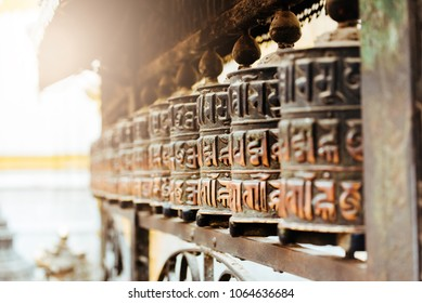 Close up photo of prayer wheels in Kathmandu, Nepal.