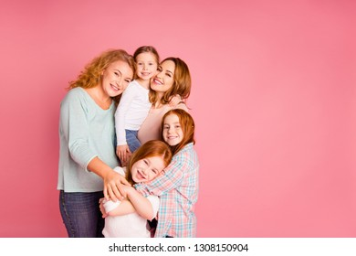 Close up photo pretty foxy little girls mom granny standing close tight toothy smile glad holiday weekend spend free time wear sweaters shirts pullovers isolated on rose background