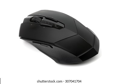 Close up photo of professional gamer wireless PC mouse for games, work and multimedia, isolated on white background