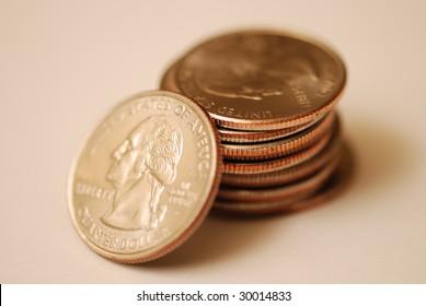 Close up photo of quarters