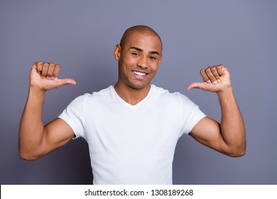Close up photo self-confident dark skin he him his macho short hairdo choice choose me you will not regret selfish narcissistic egoist wearing white t-shirt outfit clothes isolated grey background