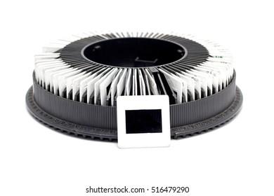 close up photo slide films on rack projector reel vintage