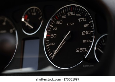 Close up photo of a speedometer hour