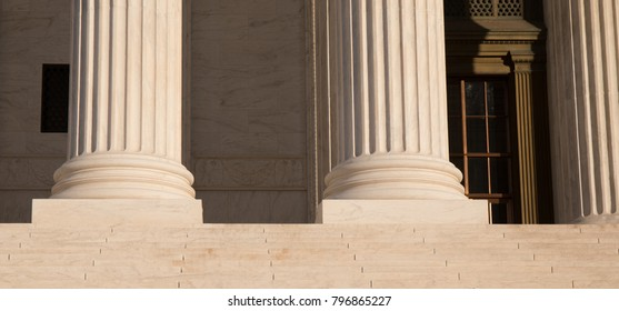Close up photo of the steps at the Supreme Court in Washington, D.C.