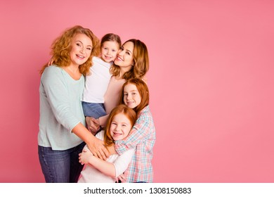 Close up photo sweet foxy little girls mom granny standing close tight leisure toothy smile glad weekend spend free time wear sweaters shirts pullovers isolated on rose background