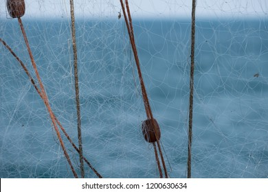 Close up photo of Trabucco La Punta, traditional wooden structure used for fishing, commonly found along the Adriatic coast between Peschici and Vieste.