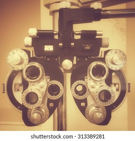Close up photo of a traditional optician gear used to check eyes for glasses.