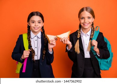 Close up photo two beautiful sisters she her little ladies funny hands arms toasts burgers lunchtime break pause wear formalwear shirt blazer skirt school form bag isolated bright orange background