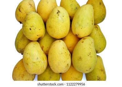 Close up of photo of very fresh ripe mangoes isolated on white background