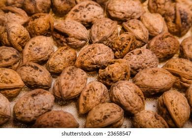 close up photo of walnut - textured background