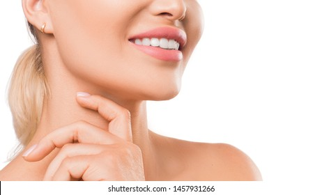Close up photo of a woman smiling. Stomatology and teeth health concept.