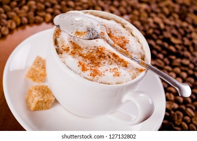 Close Up Photograph of a hot coffee cup