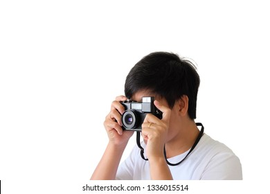 Close up photographer on white background.film camera.clipping path.
