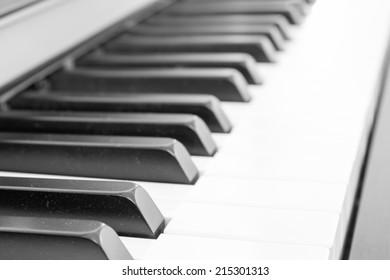 close up of piano keys