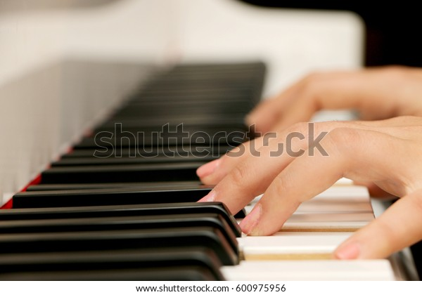 Close up piano, white and black keyboard
