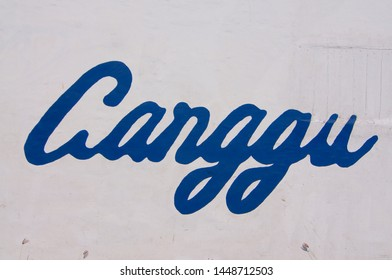 Close up picture of Canggu text drawn on a white wall