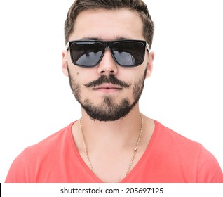 close up picture of a casual young man with a beard, looking into the camera. on white studio background