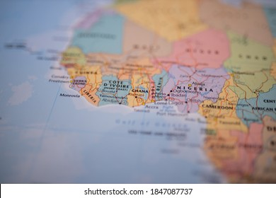 Close up picture of the countries above the Gulf of Guinea -Liberia, Ghana, Togo, Benin, and Nigeria- on a colorful map of West Africa with the rest of the countries blurred out