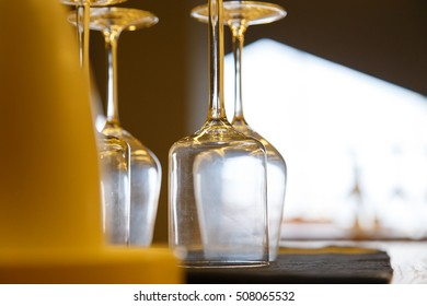 Close up picture of empty glasses in Hotel restaurant.