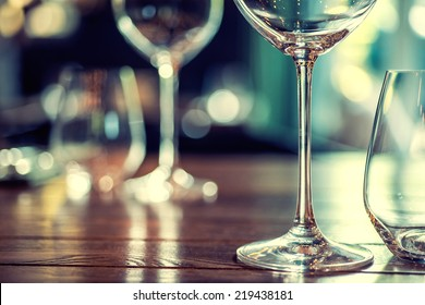 Close up picture of empty glasses in restaurant