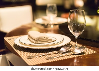 Close up picture of empty glasses in restaurant.blur background . & Restaurant Table Setting Images Stock Photos u0026 Vectors | Shutterstock
