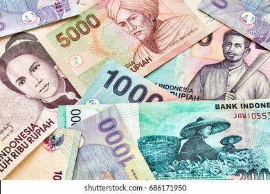 Close up picture of Indonesian rupiah banknotes.