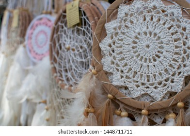 Close up picture of many dreamcatcher hanging at a market stall in the Love Anchor market in Canggu, Bali - Indonesia