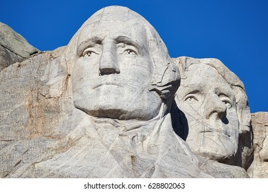 Close up picture of Mount Rushmore National Memorial with George Washington and Thomas Jefferson, South Dakota, USA.